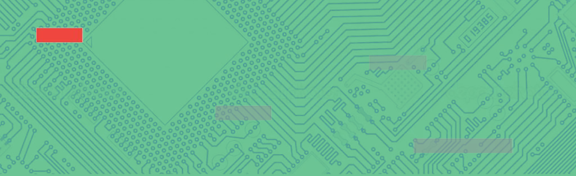 Green circuit board with red block